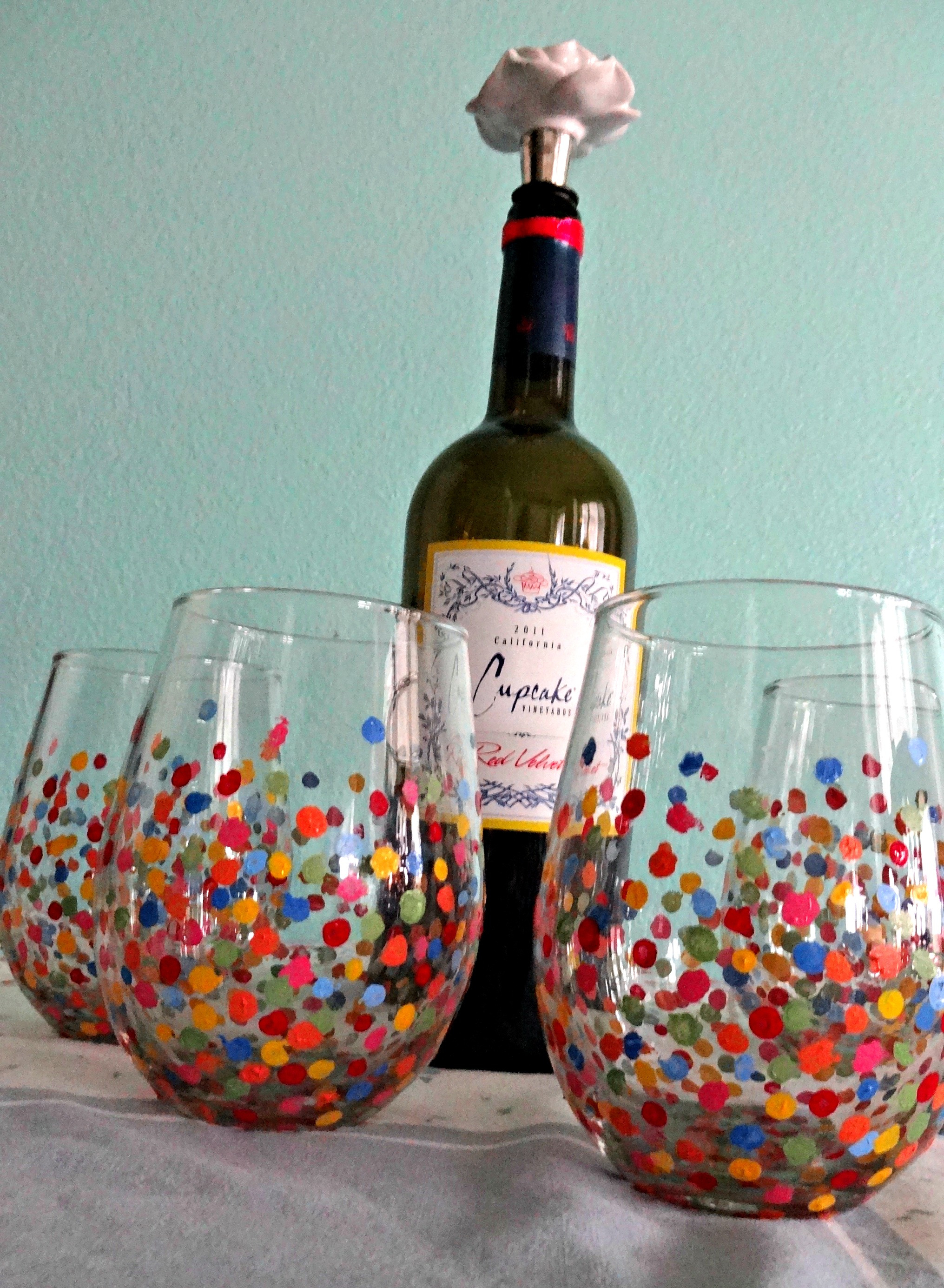 Diy painted wine glasses serendipity by sara lynn for Type of paint to use on wine glasses