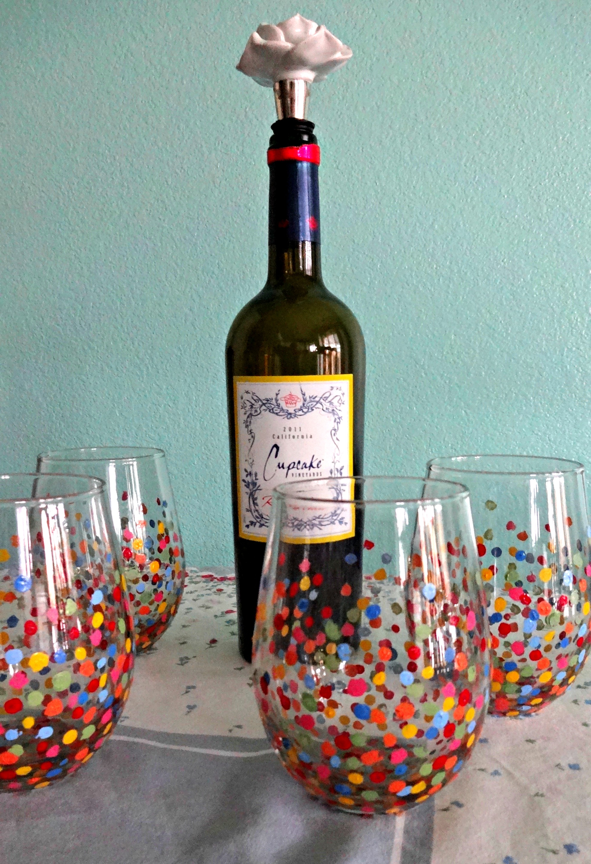 Diy painted wine glasses serendipity by sara lynn for What paint do you use to paint wine glasses